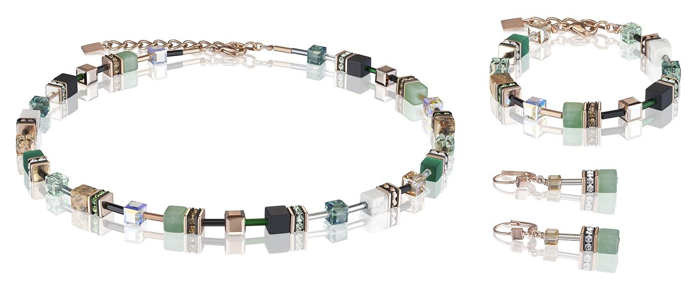 Set Collier, Armband und Ohrhänger GeoCUBE® Swarovski® Kristalle & Edelsteine grün-beige