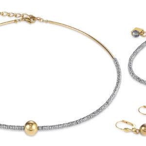 Set Collier, Armband und Ohrhänger Hämatit silber & Edelstahl gold