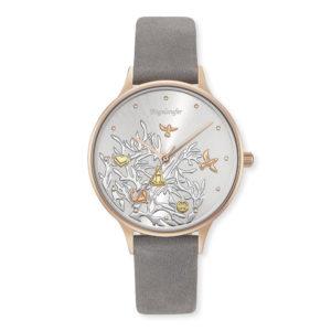 Uhr Lebensbaum Rosé Nubuklederband Grau