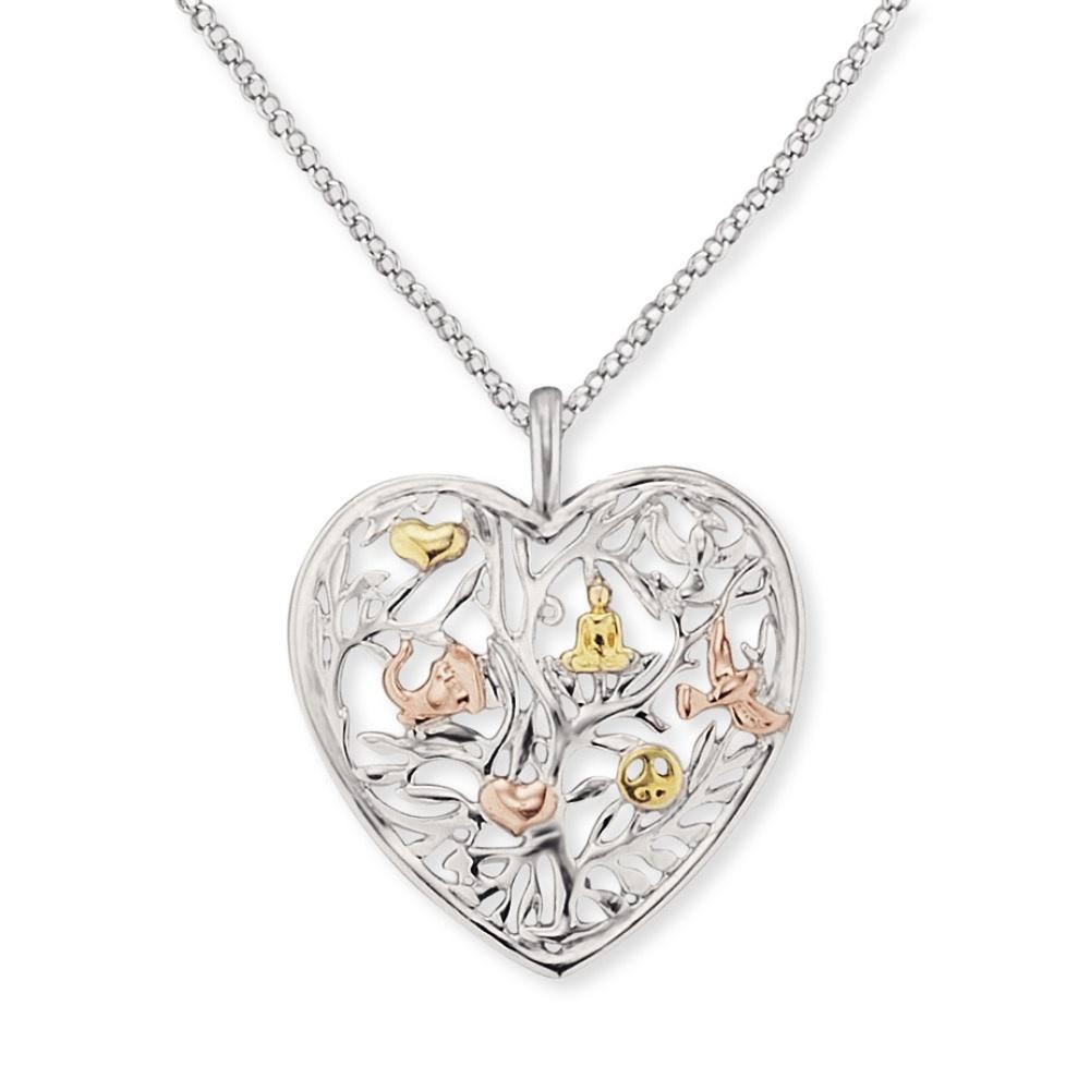 Kette Lebensbaum Herz Silber Tricolor