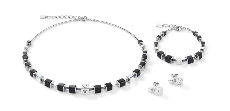 Set Collier, Armband und Ohrstecker GeoCUBE® Edelstahl & Kristall schwarz-silber