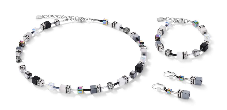 Set Collier, Armband und Ohrstecker GeoCUBE® Halskette schwarz-weiß-hämatit