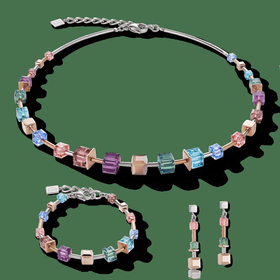 Set Collier, Armband und Ohrringe GeoCUBE® 125 Jahre Swarovski® Special multicolor & Edelstahl roségold