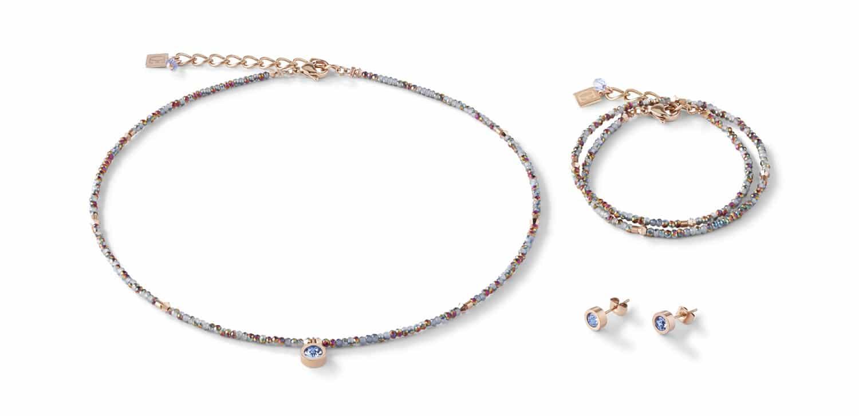 Set Collier, Armband und Ohrringe small crystal roségold & hellblau