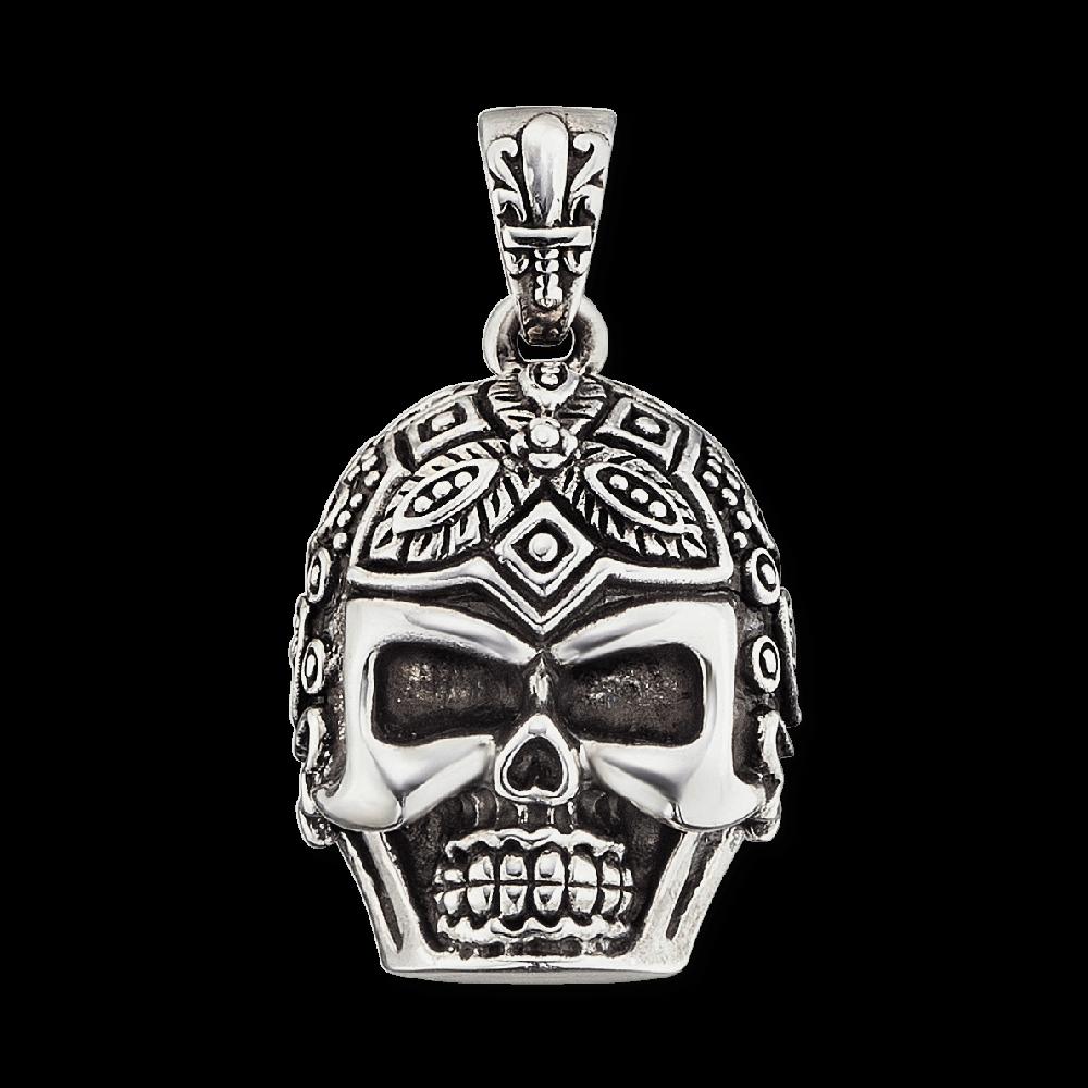 Onyx-Kette mit Anhänger Totenkopf Gervida