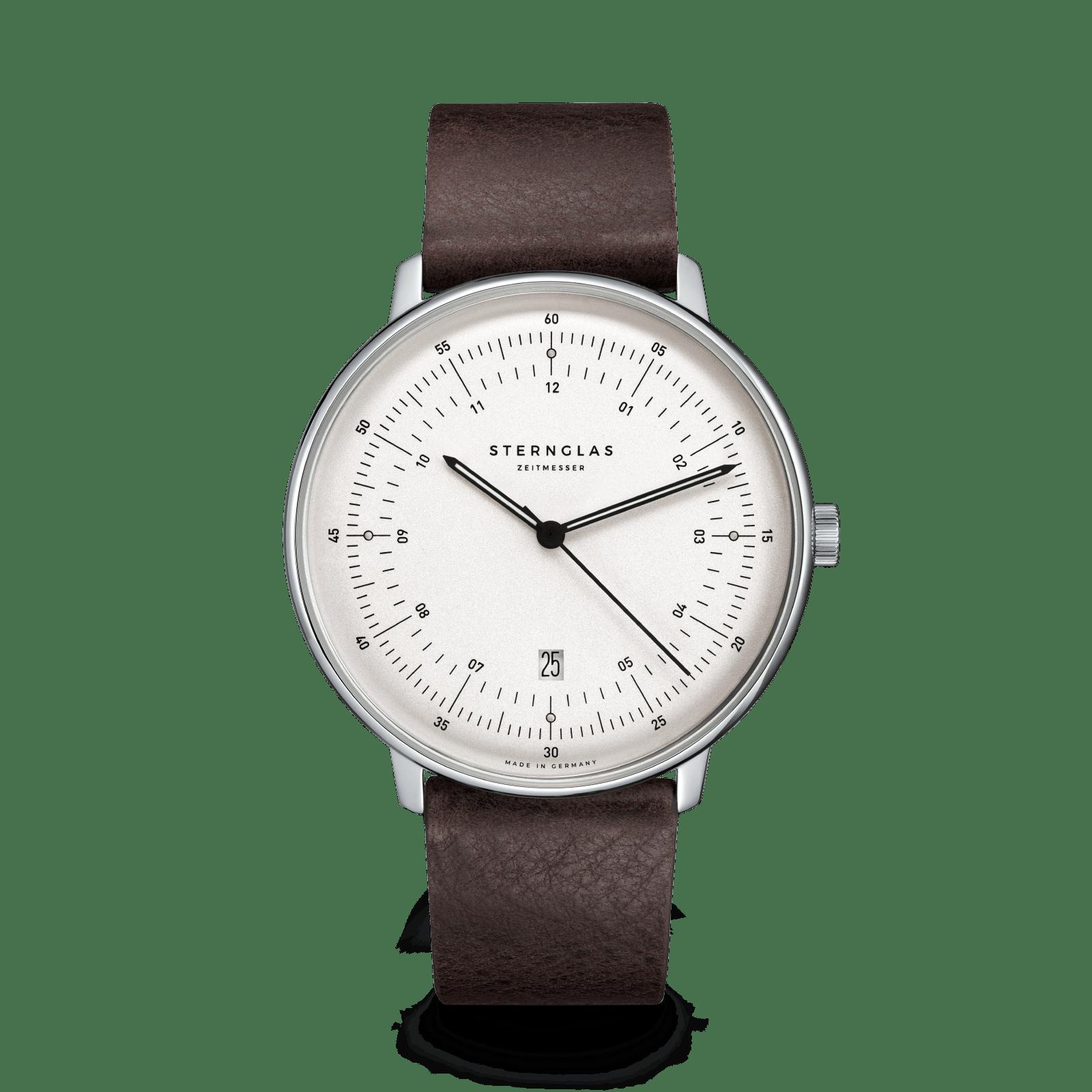Hamburg Quarz Uhr silber- satiniert Vintage mokka Lederband